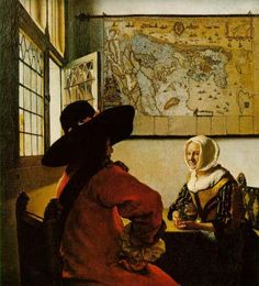 Soldier and a Laughing Girl by Jan Vermeer, 1658.  Notice how skillfully Vermeer uses the soldier's gaze and the dark form of his hat to deflect the eye upward toward the map instead of allowing it to flee out the window before it has taken in the entire scene.