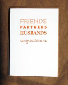 Gay Wedding Card // Friends, Partners, Husbands, Congratulations