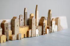 Little houses from wood left overs. Clay Houses, Ceramic Houses, Miniature Houses, Wooden Houses, Art Houses, Pottery Houses, Wooden Crafts, Wood Toys, Little Houses