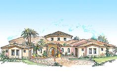 Plan W16313MD: Southwest, Mediterranean, Spanish House Plans & Home Designs