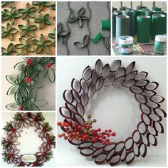 I can't believe that this gorgeous wreath is made from toilet paper roll tubes . Tutorial--> http://wonderfuldiy.com/wonderful-diy-unique-christmas-wreath-from-paper-rolls/ Toilet Paper Roll, Diy Wreath, Rolls, Unique, Ornaments, Diy Crafts, Christmas Wreaths, Christmas Crafts, Holiday Decor