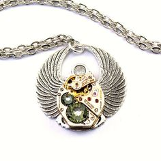 Steampunk Necklace  Egyptian Scarab Beetle by LondonParticulars, $49.00