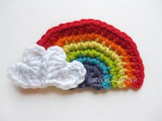 Crochet Rainbow Applique with Heart Clouds