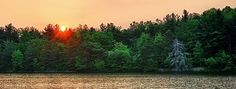 Sunrise over Commissioner's Lake, Chestnut Ridge Park, Orchard Park, New York: Another beautiful day is being born over the woods of the Chestnut Ridge Park, with the sun rising over the pond by the Commissioner's Cabin ...