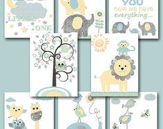 Gray Blue Yellow Mint Baby Shower Gift Canvas Elephant Nursery Quotes Kids Wall Art Kids Art Baby Boy Nursery Art Baby Room Decor set of 8