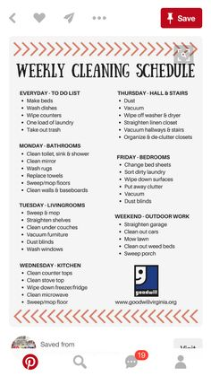 Weekly cleaning checklist ready for spring. House Cleaning Tips, Diy Cleaning Products, Cleaning Solutions, Cleaning Hacks, Cleaning Lists, Spring Cleaning Schedules, Daily Cleaning, Bedroom Cleaning Tips, Room Cleaning Checklist