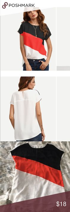 Color block t-shirt blouse with red black & white *Never worn Brand new ✨ *Soft Thin material  *Block colors  *Perfect for any season *Runs a little big ROMWE Tops Blouses