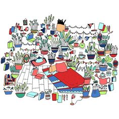 Dimanche  #illustration #indoorplants #chill #illustrator #dessin #petitsobjets #repos #