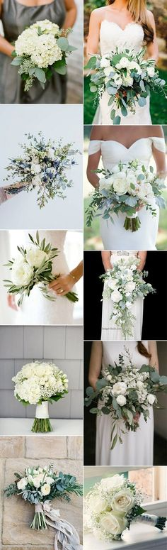 white and green wedding bouquet ideas for 2017 trends