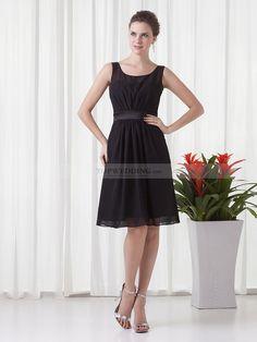 Scoop Neckline Sleeveless Chiffon Knee Length Party Dress with Sash