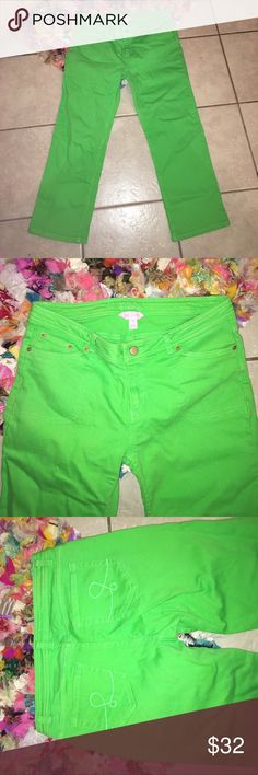 Lilly Pulitzer green Capri jean Good condition Lilly Pulitzer Pants Capris