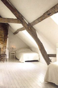 bedroom, monastic, outside in, white, painted floor, simplicity  repin