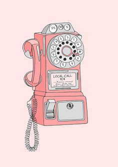 Illustrations by kristina hultkrantz: vintage telephone vintage telephone, Art And Illustration, Character Illustration, Wallpapers Rosa, Cute Wallpapers, Vintage Phones, Vintage Telephone, Telephone Call, Pinterest Arte, Telephone Drawing