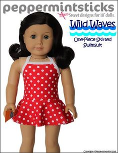 Peppermintsticks Wild Waves One-Piece Skirted Swimsuit Doll Clothes Pattern 18 inch American Girl Dolls | Pixie Faire