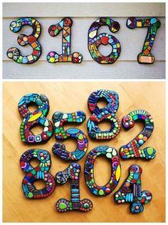 DIY mosaic address numbers More