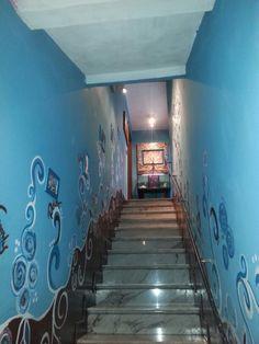 Stairs lightblue wall art paint brown