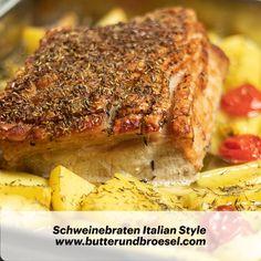 Saftiger Schweinebraten mit knuspriger Schwarte, Kartoffeln und Tomaten. Rezept findet ihr ab sofort am Blog. Viel Spass beim Nachkochen. #butterundbroesel Ab Sofort, Blog, Style, Pork Roast, Potato, Italian Seasoning, Recipies, Swag, Blogging