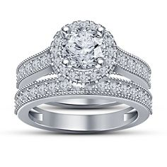 White Gold Over Round Cut Lab Diamond Engagement Ring Ladies Wedding Bridal Set  #aonedesigns