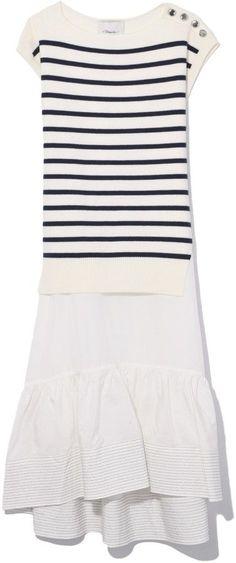 3.1 Phillip Lim Sleeveless Combo Sailor Dress in Antique White