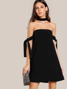 Tie Sleeve Choker Dress -SheIn(Sheinside)