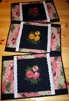Advanced Embroidery Designs. Free Projects and Ideas. Quilted place mats with rose embroidery.
