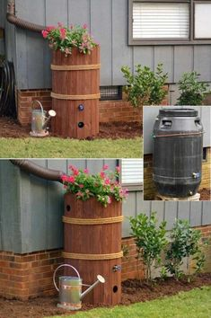 Decorative Rain Barrel For The Front Yard - Fun And Useful Downspout Landscaping Ideas Decorative Rain 3 Top Diy Rain Barrel Ideas To Gather Water For Garden Rain The Best Decorative Rain Barrel. Decorative Rain Barrels, Decorative Downspouts, Landscape Design, Garden Design, Water Collection, Front Yard Landscaping, Landscaping Ideas, Acreage Landscaping, Eco Friendly House