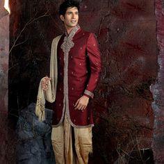 Maroon Brocade #Sherwani with Dhoti Online Shopping: MCD355