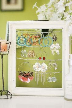 DIY Jewelry Organizer. For more DIY ideas, visit @BrightNest Blog | fabuloushomeblog.comfabuloushomeblog.com