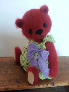 Sweet little bear with crochet dress