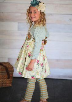 Giggle Moon Sea of Glass Matilda Dress w/Leggings (PreOrder)