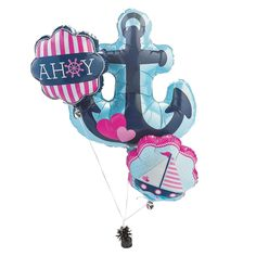 Nautical Girl Mylar Balloons - Ahoy! These nautical mylar balloons are so nice for a sailor's birthday party! Pretty in pink and blue, they bring the charm of the seven seas to your party decorations. They're also a great way to get your baby shower or wedding décor shipshape! Make waves at your celebration with these nifty nautical balloons, and check out our other Nautical Girl party supplies on this website to complete your theme. (3 pcs. per set) $7.25