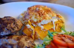 Tasty Health: Smal sötpotatisgratäng med nötfärsbiffar  Näringsvärde för gratängen per portion (av 4 portioner): 230 kcal 37.4 g kolhydrater 13.2 g protein 3.7 g fett