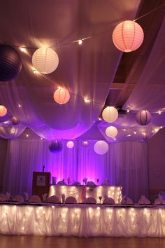 ceiling decor with lanterns lights and draping - Google Search