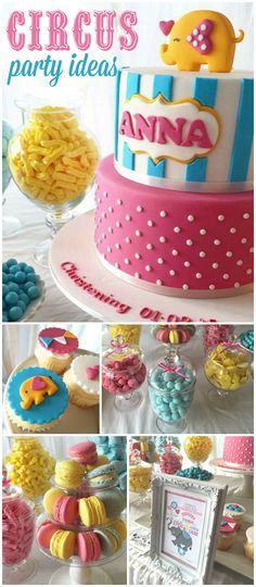 You have to see this circus party! It's in pink, yellow and blue with darling fondant cupcake toppers! See more party ideas at CatchMyParty.com!
