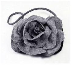 Felted Bag Handbag Rose Purse wild Felt Nunofelt Nuno felt Silk grey gray fog fairy floral fantasy shoulder bag Fiber Art boho. $119.00, via Etsy.
