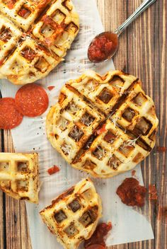 This unique recipe for pepperoni pizza waffles combines two family favorites into one delicious meal.