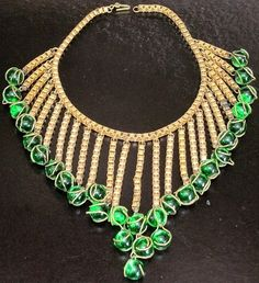 Miriam Haskell Signed Gorgeous Green Glass Dangling Festoon Necklace