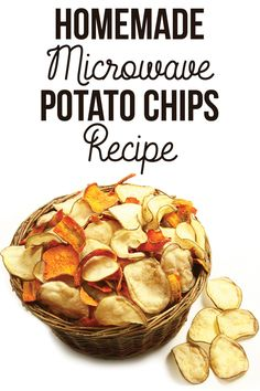 Potato Chips made in the MICROWAVE!! Thick, fresh chips that are actually EASY! Dying to try these for lunches...or maybe even a fun snack with cheese and bacon sprinkled on top?  Sour cream and onion and barbeque variation recipes included. Hooray!