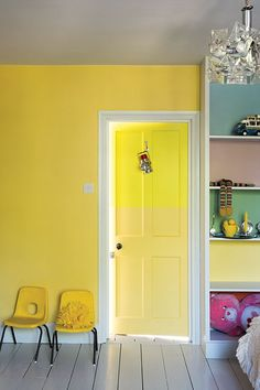 Children's Bedroom Painted In Farrow & Ball Dayroom Yellow, Lulworth Blue, Cinder Rose, Breakfast Room Green And Blazer Wall Paint Colors, Bedroom Paint Colors, Bathroom Colors, Bathroom Ideas, Farrow Ball, Boys Bedroom Paint, Kids Room Paint, Striped Hallway, Yellow Nursery