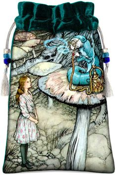 Short description A classic Alice in Wonderland print based on an illustration by Victorian illustrator, Arthur Rackham. Combined with a high quality silk velvet. More details - Beautifully made in a