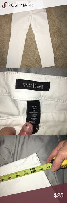 White House Black Market slim cut jeans White slim cut jeans.  Only worn once.  They hit at the ankle but can be rolled up like a boyfriend Jean as well.  These do have stretch to them.  No lowball offers accepted White House Black Market Jeans Skinny
