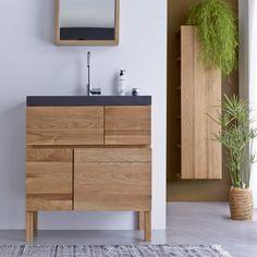 Meuble en chêne et vasque pierre de lave Easy solo – Vente meubles salle de bain bois - Tikamoon