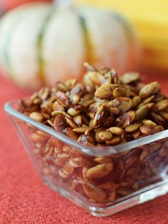 Maple Spiced Pumpkin Seeds Recipe (Dairy-Free) Maple Spiced Pumpkin Seeds – a simple, flavorful paleo and dairy-free recipe for using up leftover pumpkin seeds! Eat them straight, top a salad, or mix with dairy-free yogurt. No Dairy Recipes, Fall Recipes, Vegan Recipes, Paleo Dairy, Paleo Vegan, Vegan Food, Snack Recipes, Dessert Recipes, Vegetarian
