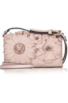 Floral-appliquéd leather mini shoulder bag by Valentino