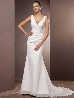Lan Ting Trumpet/Mermaid Plus Sizes Wedding Dress - Ivory Court Train V-neck Chiffon - USD $109.99