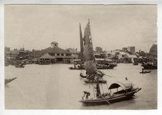 C1890 Albumen Print Ferry Landing Pearl River Canton China Junks Sanpans   eBay