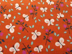 Stof Biokatoen – Cloud 9 – Spring Walk – Butterfly Garden Orange