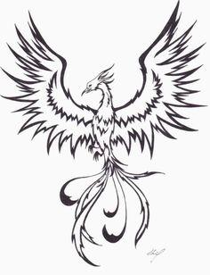 Outline Flying Phoenix Tattoo Design