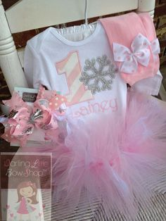 Baby Girl First Birthday Outfit - Winter ONEderland - bodysuit, leg warmers, tutu, Over The Top bow in shabby chic pale pink, silver, lace