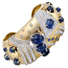 seaman schepps vintage bracelet gold diamond sapphire cabochon